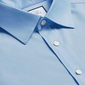 Charles Tyrwhitt Sky Blue Herringbone  French Cuff